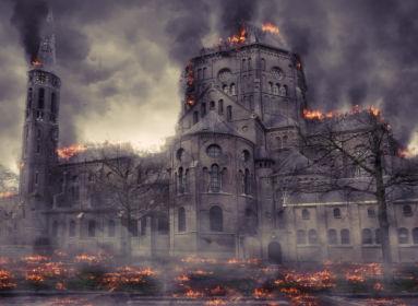 égő templom