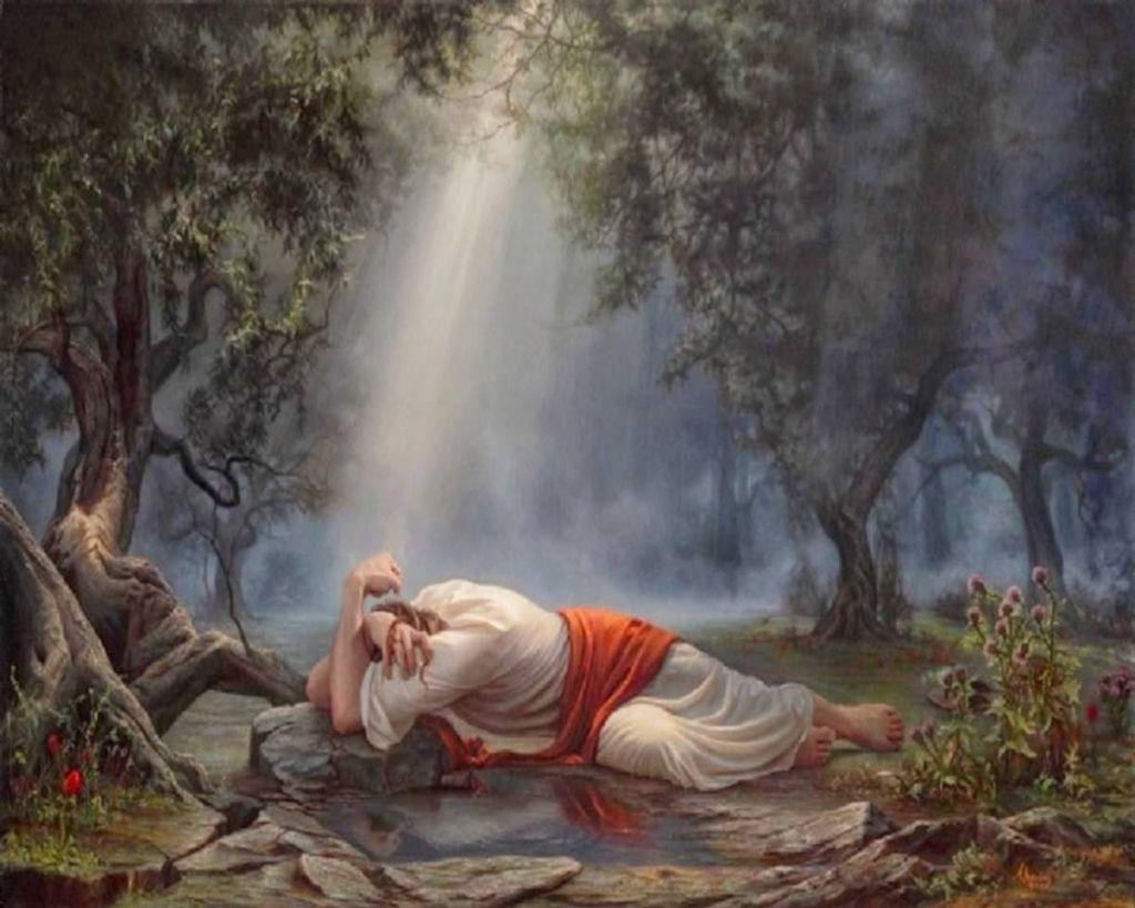 Jézus a Getszemáni-kertben vérrel verítékezik.
