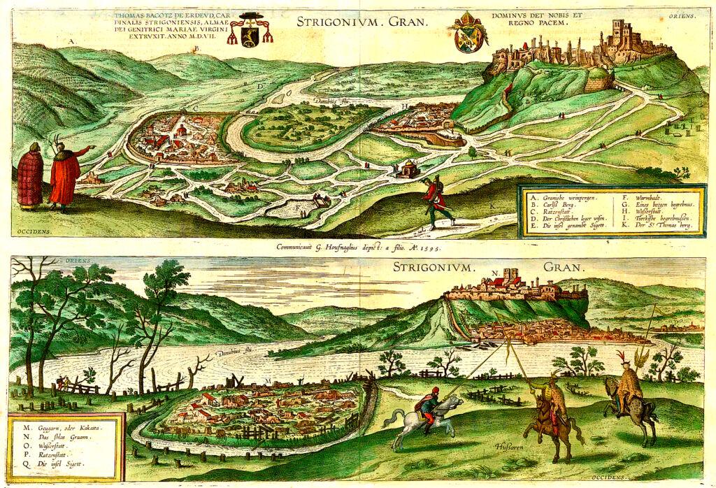 A török kori Esztergom és Párkány látképe Hoefnagel mester 1595-ös metszetén (Forrás: Wikipedia.hu)